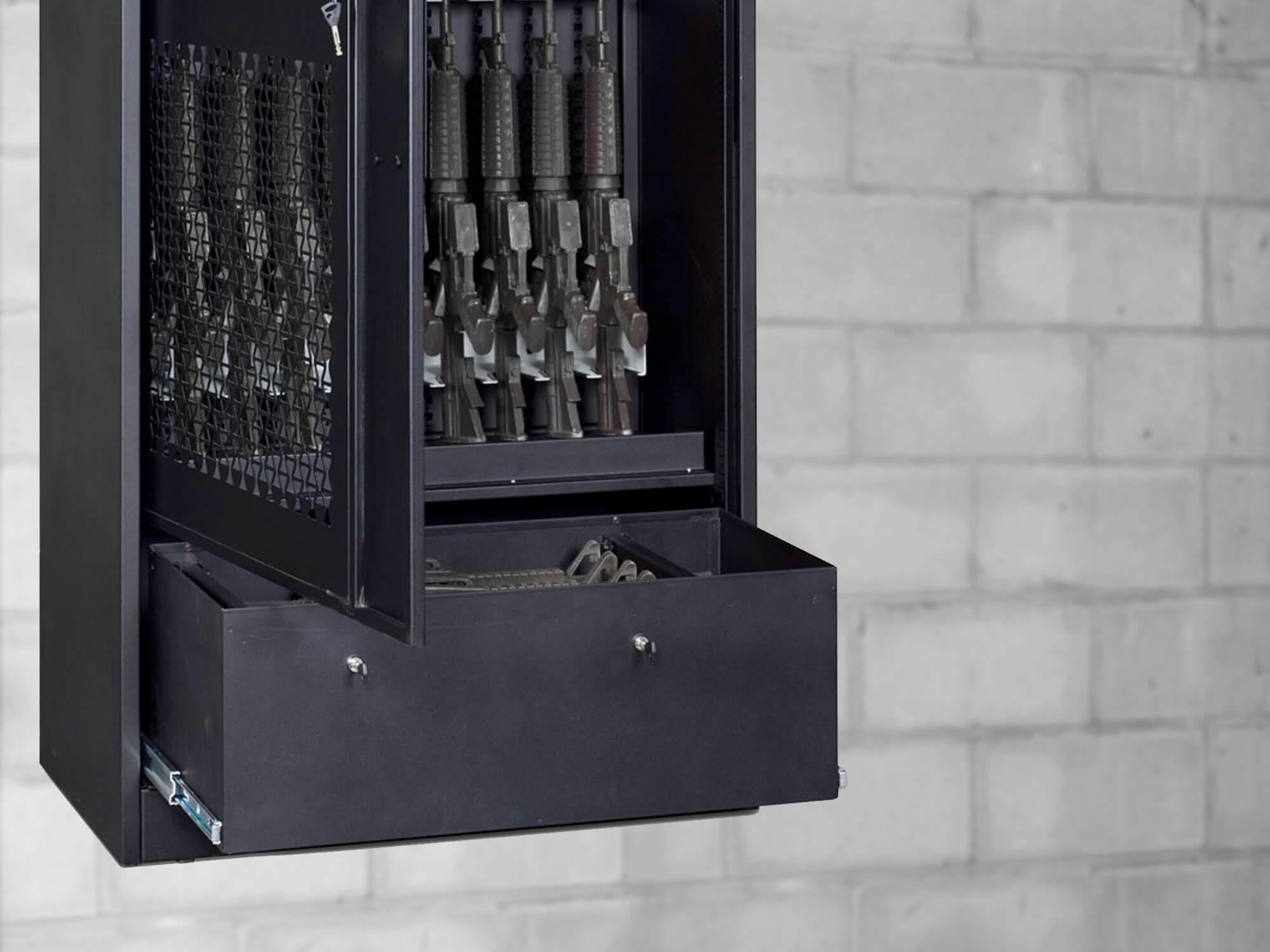 Black Weapon Storage Cabinet - Open Base Drawer