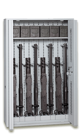 64.5-Inch Tall Bi-Fold Weapon Rack with Seismic M2 Storage Components