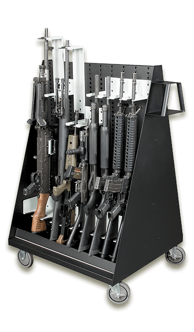 Mobile Weapon Storage Cart with Firearms