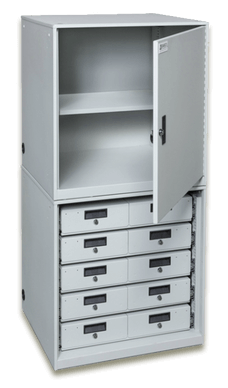 Stacked Taser Storage Cabinet Open with Shelf and Secure Powered Drawers