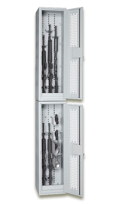 Two Stacked Open Weapon Lockers with a Shotgun, Carbines and Handguns