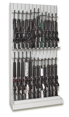 Single-Sided Expandable Weapon Rack with Rifles and Carbines Stored