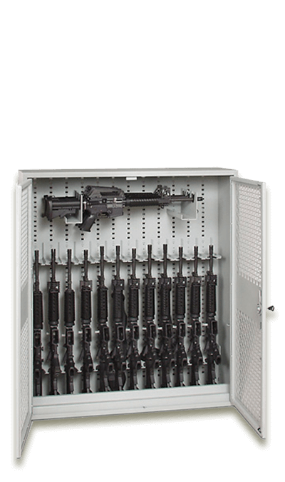 48-Inch Tall Stackable Weapon Rack with Open Swing Gates and Firearms