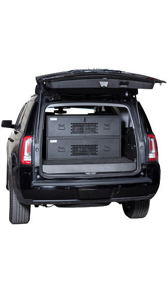 Stacked Vehicle Storage Lockers in SUV Trunk - Closed